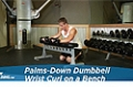 Exercise Guides: Palms-Down Dumbbell Wrist Curl Over A Bench, Male/Short Clip