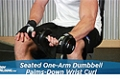 Exercise Guides: Seated One-Arm Dumbbell Palms-Down Wrist Curl, Male/Short Clip