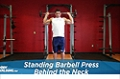 Exercise Guides: Standing Barbell Press Behind Neck, Male/Short Clip