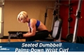 Exercise Guides: Seated Dumbbell Palms-Down Wrist Curl, Female/Short Clip