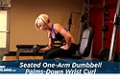 Exercise Guides: Seated One-Arm Dumbbell Palms-Down Wrist Curl, Female/Short Clip