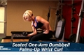 Exercise Guides: Seated One-Arm Dumbbell Palms-Up Wrist Curl, Female/Short Clip